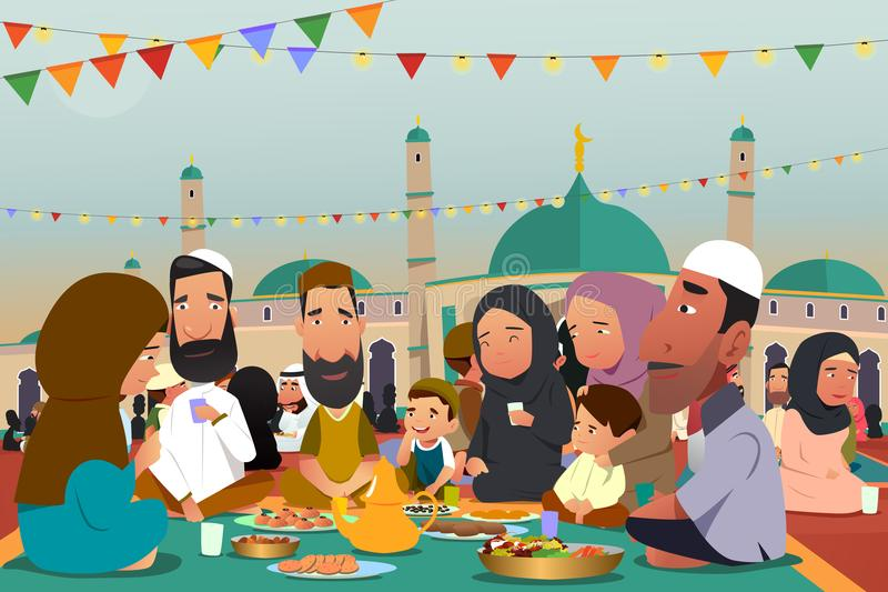 Musulmans mangeant ensemble pendant le Ramadan Illustration illustration stock