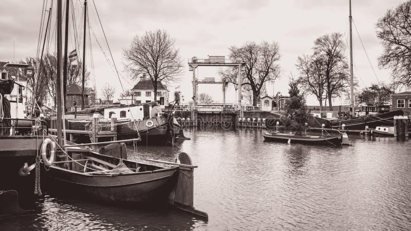 The musum harbor of Gouda stock image