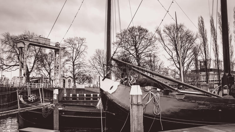 The musum harbor of Gouda royalty free stock images