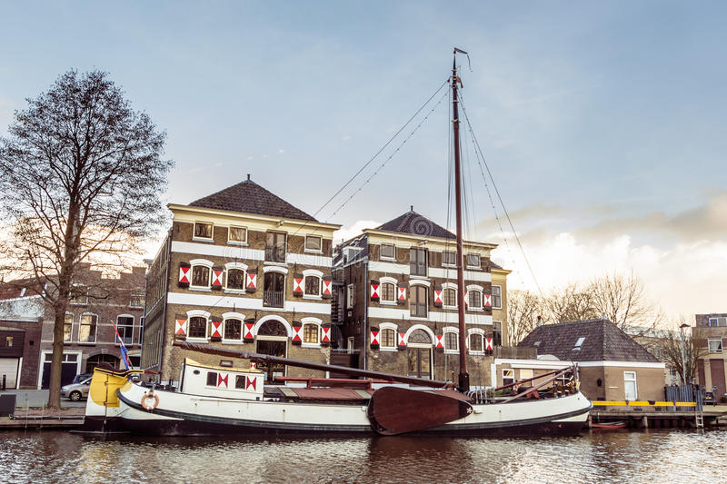 The musum harbor of Gouda stock photography