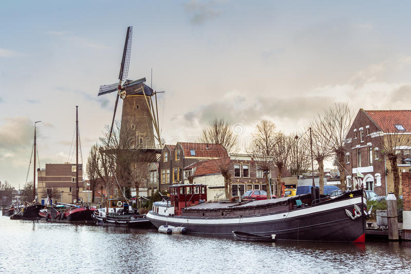 The musum harbor of Gouda stock images
