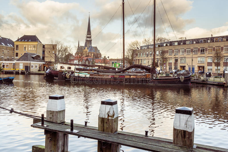 The musum harbor of Gouda royalty free stock photography