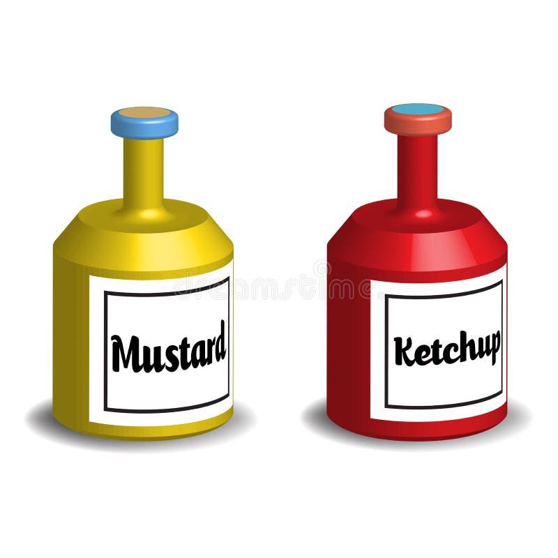 Musztarda i ketchup ilustracji