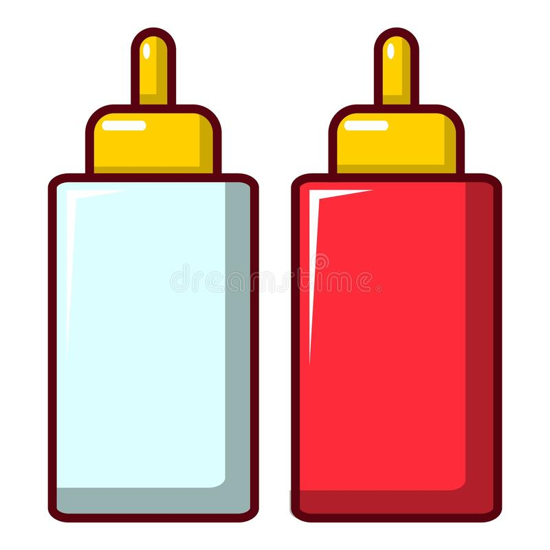 Musztarda ketchupu butelki ikona, kreskówka styl ilustracji