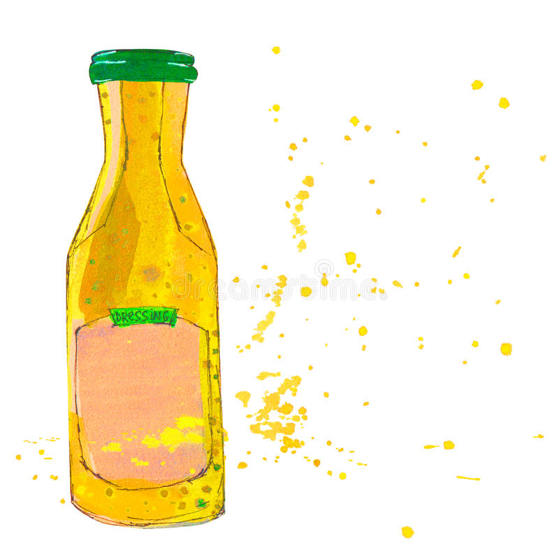 Musztarda kumberlandu butelka z pluśnięciami ilustracji