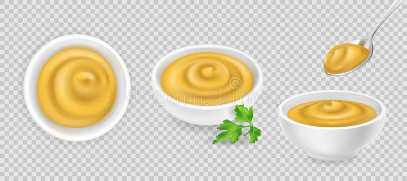 Musztarda w pucharu secie ilustracja wektor