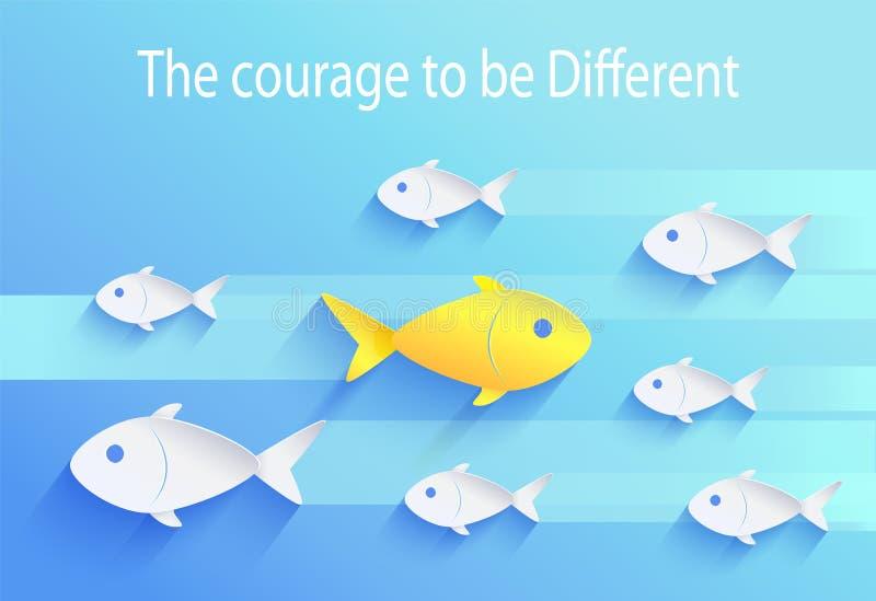 Mut, unterschiedlich zu sein, Fisch-Ikone des gefahrliebenden Menschen lizenzfreie abbildung
