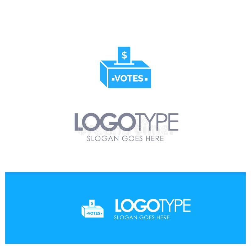 Muta korruption, val, påverkan, blå fast logo för pengar med stället för tagline vektor illustrationer