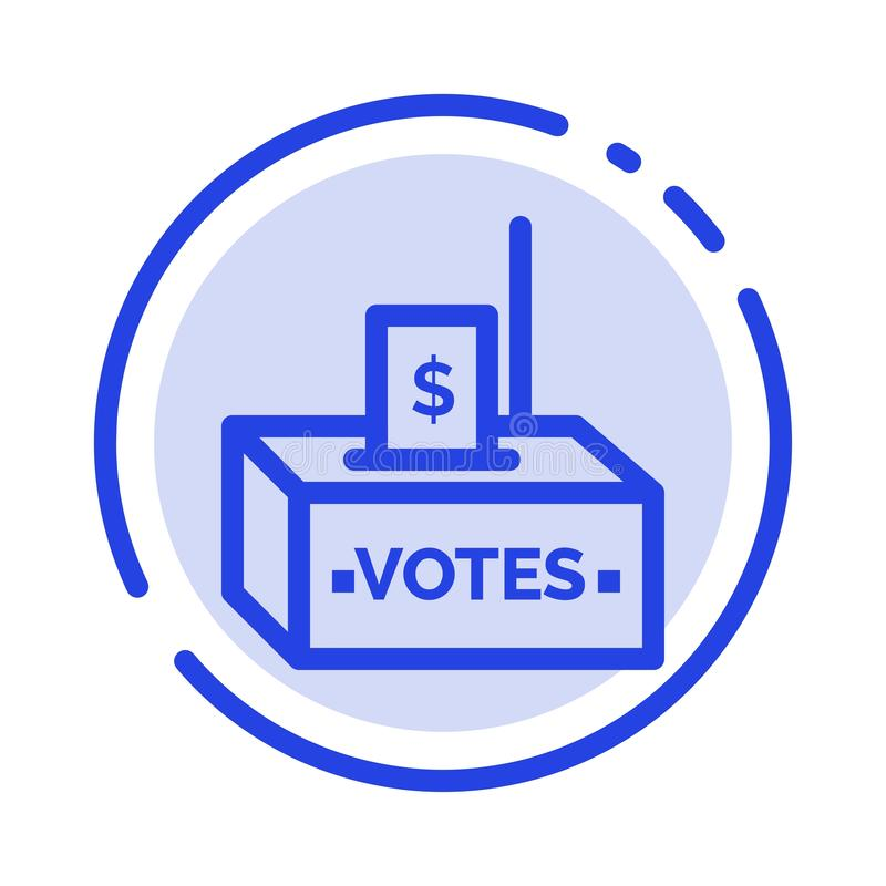 Muta korruption, val, påverkan, blå prickig linje linje symbol för pengar stock illustrationer