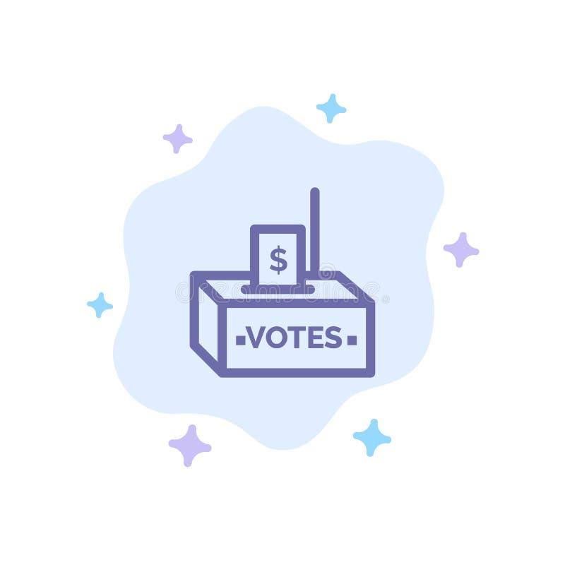 Muta korruption, val, påverkan, blå symbol för pengar på abstrakt molnbakgrund stock illustrationer