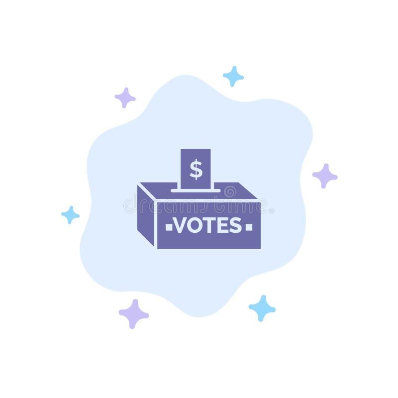 Muta korruption, val, påverkan, blå symbol för pengar på abstrakt molnbakgrund royaltyfri illustrationer
