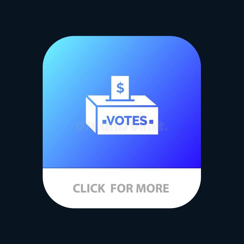 Muta korruption, val, påverkan, mobil Appknapp för pengar Android och IOS-skåraversion royaltyfri illustrationer