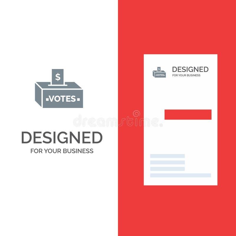 Muta, korruption, val, påverkan, pengar Grey Logo Design och mall för affärskort vektor illustrationer