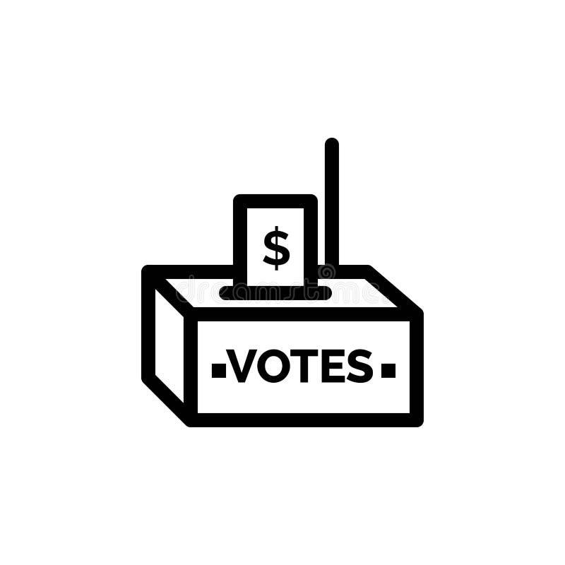 Muta, korruption, val, påverkan, pengarblått och röd nedladdning och att köpa nu mallen för rengöringsdukmanickkort stock illustrationer