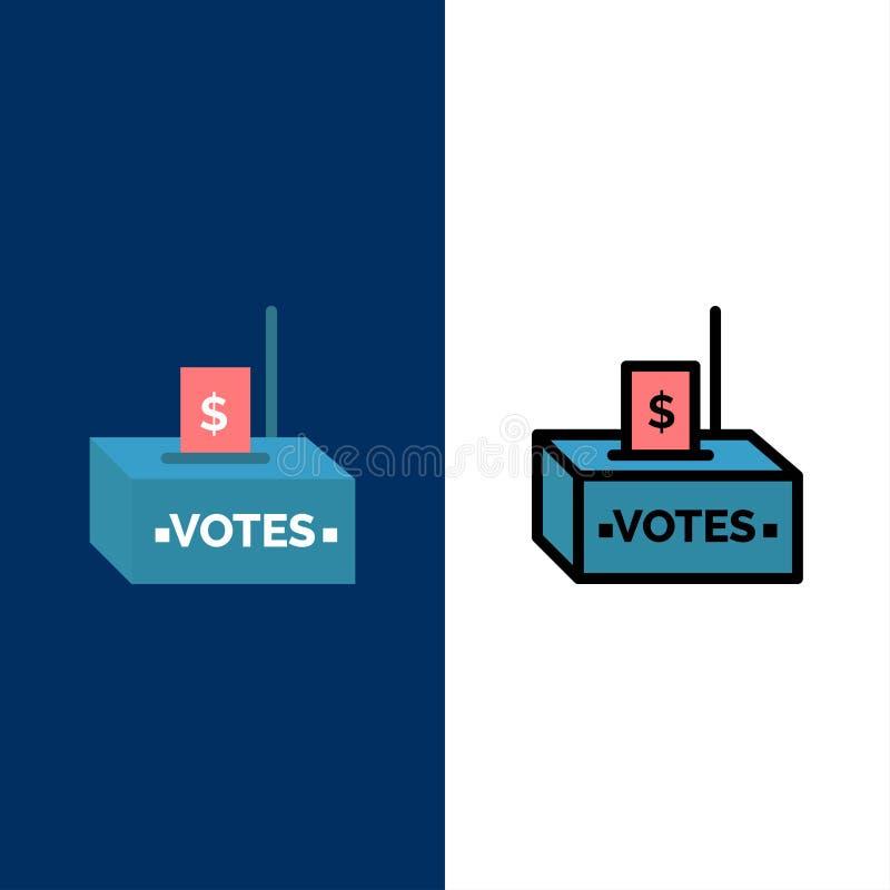 Muta korruption, val, påverkan, pengarsymboler Lägenheten och linjen fylld symbol ställde in blå bakgrund för vektorn stock illustrationer