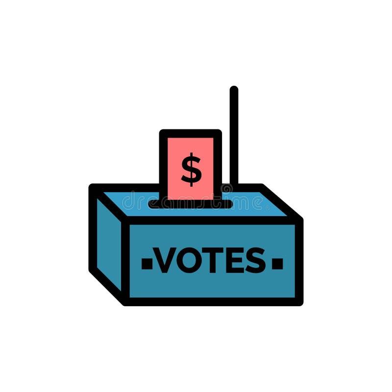 Muta korruption, val, påverkan, plan färgsymbol för pengar Mall för vektorsymbolsbaner stock illustrationer