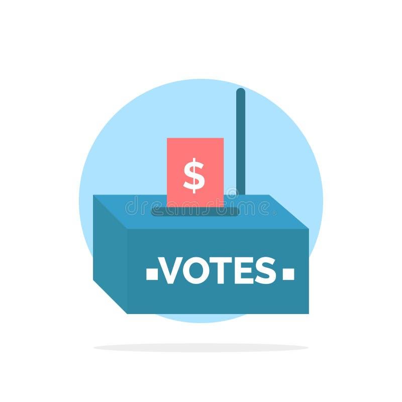 Muta korruption, val, påverkan, symbol för färg för bakgrund för pengarabstrakt begreppcirkel plan vektor illustrationer