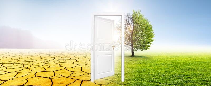 Mutamento climatico dal prato di verde del tor del deserto fotografie stock libere da diritti