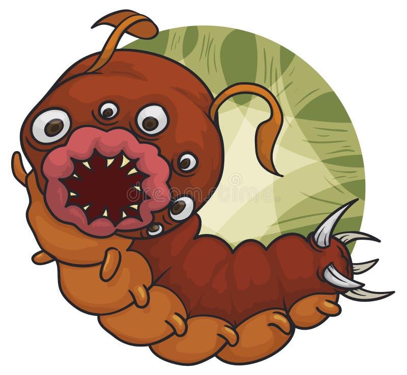 Mutant-Caterpillar-Blutegel mit vielen Augen und heftigen Mund, Vektor-Illustration lizenzfreie abbildung