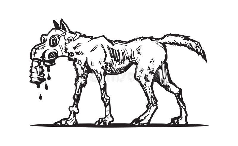 Mutant dog logo. Art sketch stock illustration