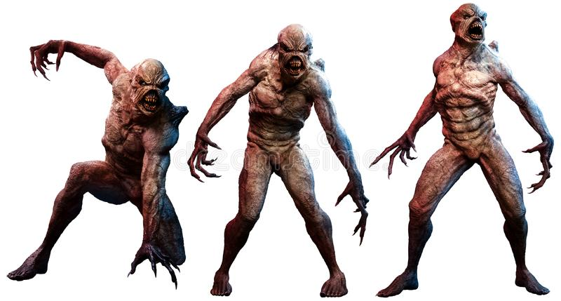 Mutant horrors 3D illustration. A group of mutant horrors 3D illustration royalty free illustration