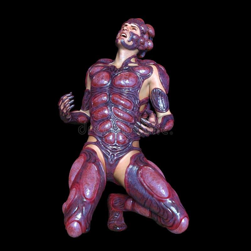 Mutant man. 3D CG rendering of a mutant man stock illustration