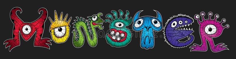 Mutant rainbow colors cartoon character monsters illustrations. Set of mutant rainbow colors cartoon character monsters illustrations royalty free illustration