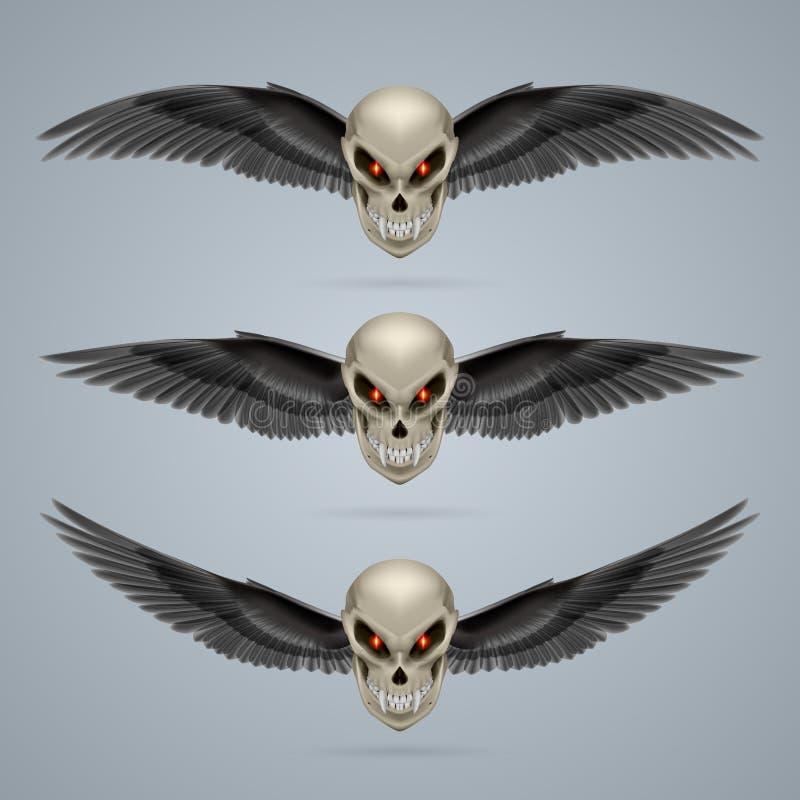 Mutant skull. Set of mutant skulls with long fangs and black wings vector illustration