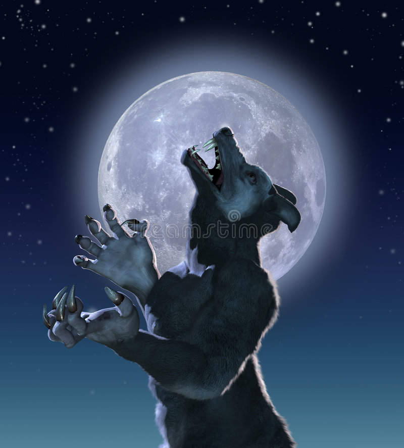 Mutant Wolf in Moonlight. The result of a genetics experiment gone wrong, a lonely mutant wolf creature howls in moonlight royalty free illustration
