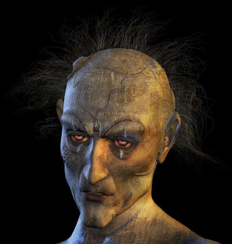 Mutant Woman. 3D rendered portrait of a mutant woman royalty free illustration