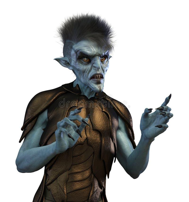 Mutante o straniero umano su bianco illustrazione vettoriale
