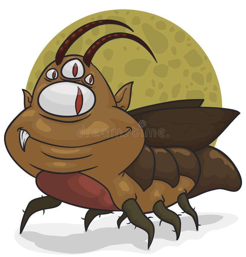 Mutantkakkerlak met Koboldgezicht en heel wat Ogen, Vectorillustratie royalty-vrije illustratie