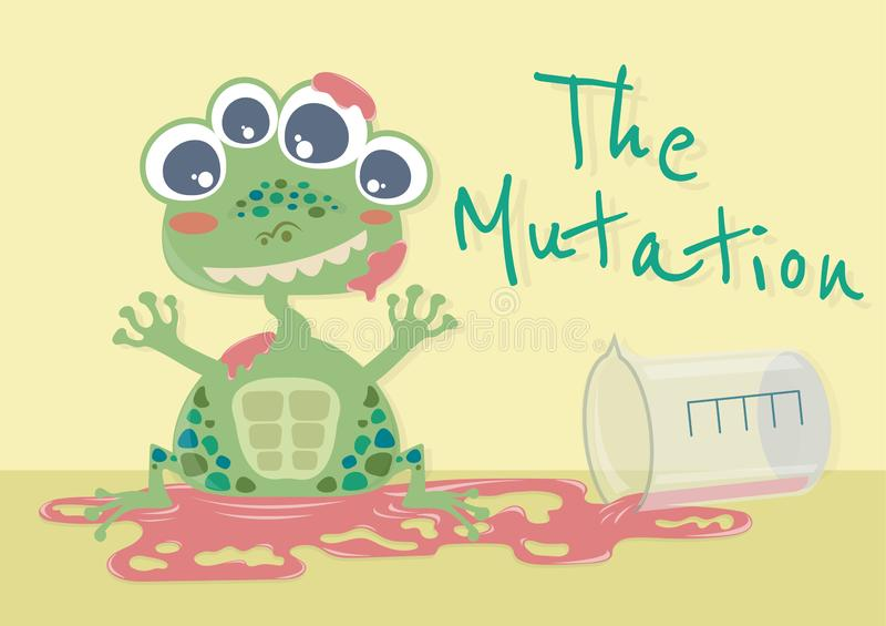 The Mutation Frog. The mutation of animal vector cartoon illustration. The mutant animal. Monster cartoon. Frog turn into monster by chemical liquid vector illustration