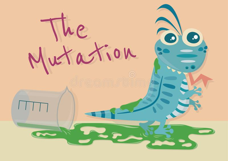 The Mutation House Lizard. The mutation of animal vector cartoon illustration. The mutant animal. Monster cartoon. House Lizard turn into monster by chemical stock illustration