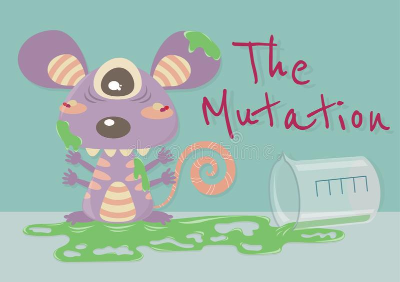 The Mutation Mouse. The mutation of animal vector cartoon illustration. The mutant animal. Monster cartoon. Mouse turn into monster by chemical liquid royalty free illustration