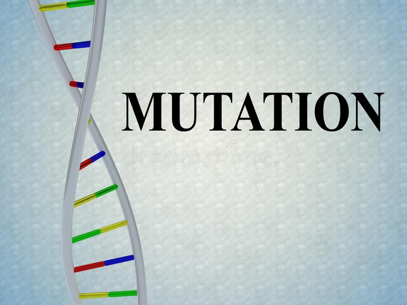 MUTATION - genetic concept. 3D illustration of MUTATION script with DNA double helix , isolated on pale blue background royalty free illustration