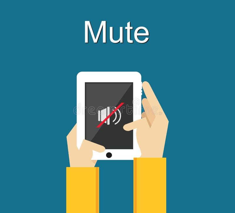 Mute illustration. Mute icon on phone screen illustration concept. Volume control. vector illustration