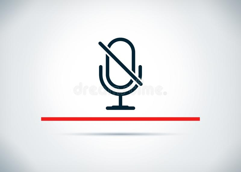 Mute microphone icon abstract flat background design illustration royalty free illustration