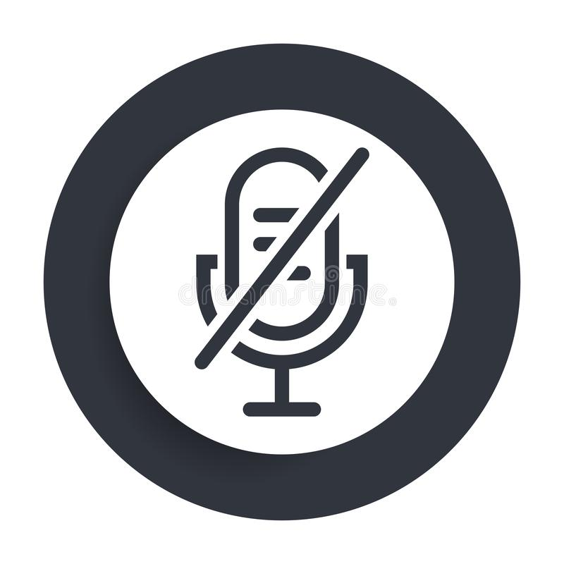 Free Mute Microphone Icon Flat Vector Round Button Clean Black And White Design Concept Isolated Illustration Stock Photography - 162452382