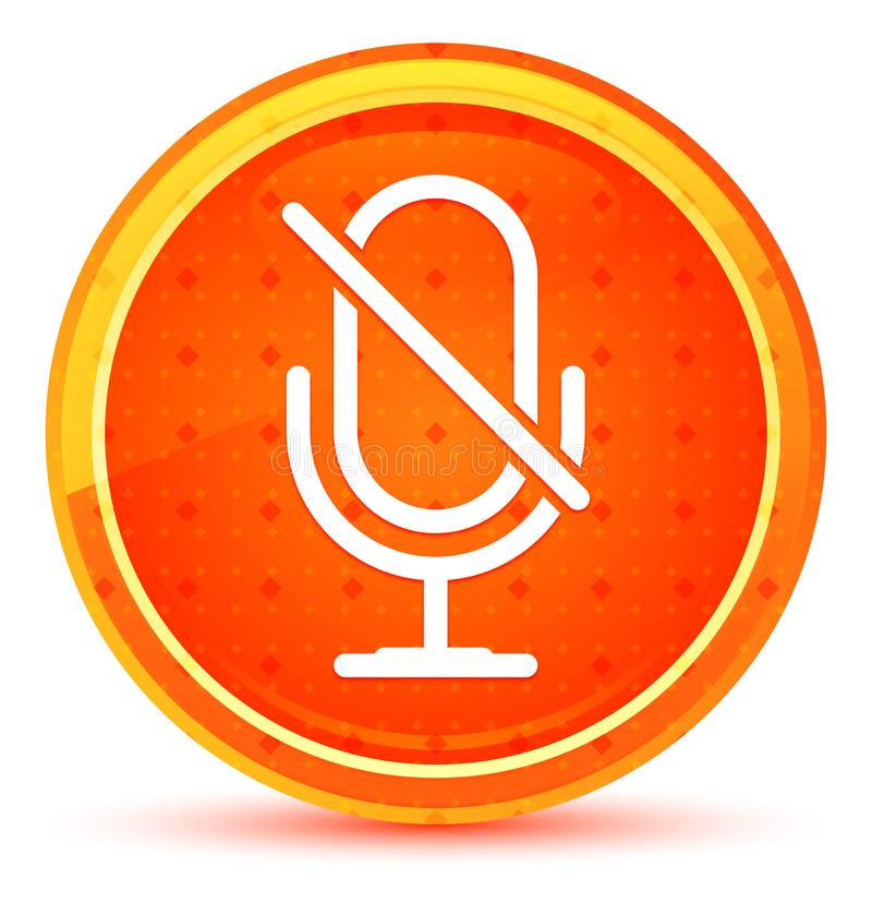 Mute microphone icon natural orange round button. Mute microphone icon isolated on natural orange round button vector illustration