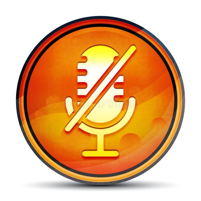Mute microphone icon shiny bright orange round button illustration vector illustration