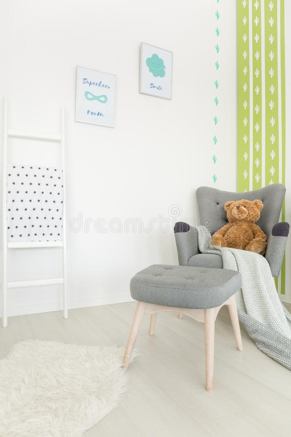 Muted colors in baby room royalty free stock photo