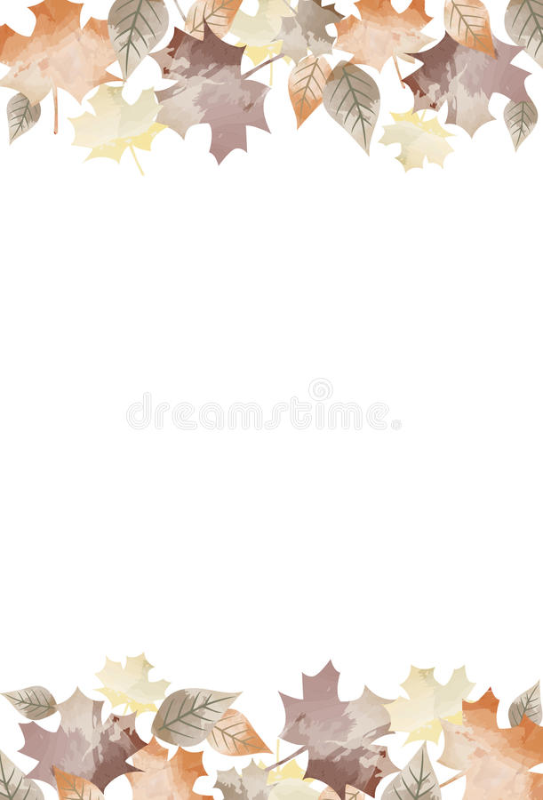 Muted Watercolor Fall Autumn Leaves Background 1.  royalty free illustration