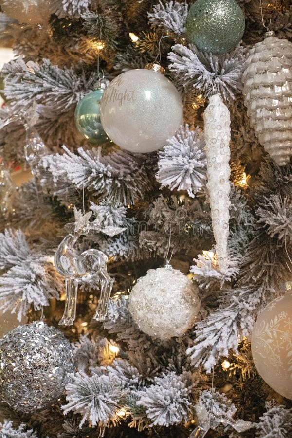 Muted White and Green Christmas Tree Close Up stock photos