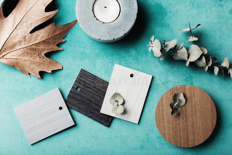 Muted wood and laminte swatches flat lay. Group of muted wood and laminte swatches flat lay stock image