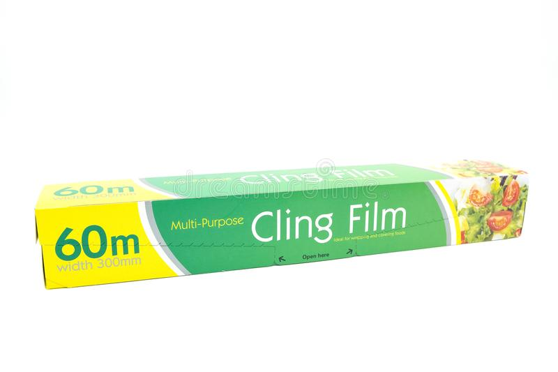Muti-Purpose Cling Film in a Recyclable Cardboard Board Box royalty free stock photo
