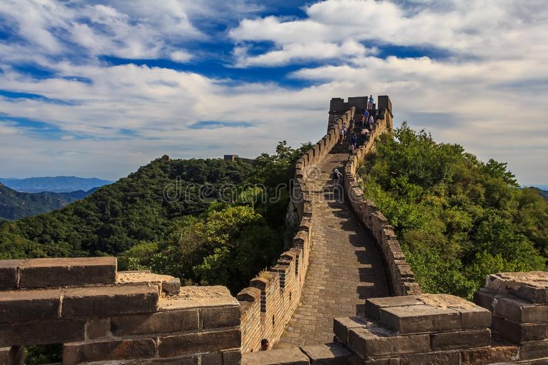 Mutianyu, China - September Unidentified tourists walking on the Great Wall of China, in the Mutianyu village, one of. Mutianyu, China - September 19, 2013 royalty free stock photography