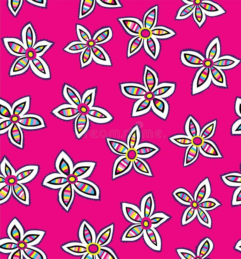 Mutige Blumen-sich wiederholender nahtloser ganz vorbei - Druck stock abbildung