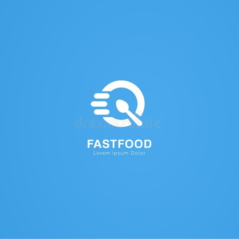 Mutige Linie Logo Fast Food-Löffels stock abbildung