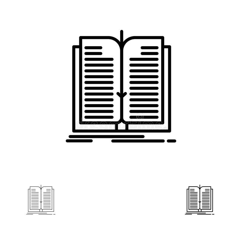 Mutige und dünne schwarze Linie Ikonensatz der Anwendung, der Datei, des Übergangs-, des Buches vektor abbildung